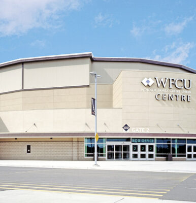 Photo of WFCU Centre with blue skies